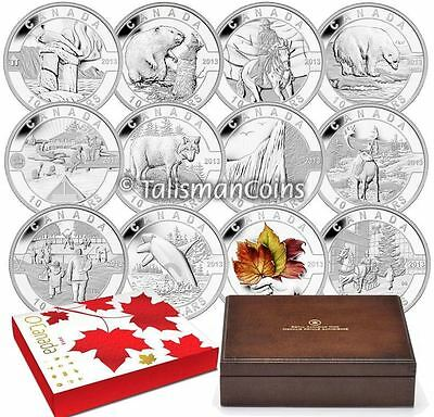 2013 O Oh Canada Complete 12 Coin Set Collection $10 Pure Silver Proofs Wood Box