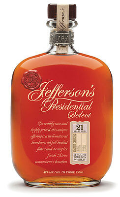 Jefferson's Presidential Select  21 Year Old  Bourbon Whiskey 750ml