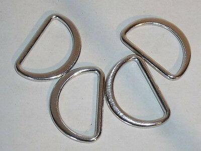 8 D-rings flat round silver 25mm (31x21mm) 3
