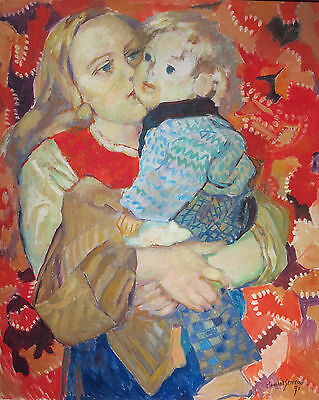 Henri Clement-Serveau 1971 mother and child oil painting French artist