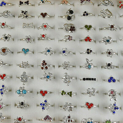 Wholesale Lots 30PC Fashion Jewellery Girl's Children Flower Rings SZ Adjustable