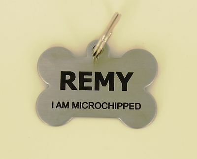 Bone shaped Dog Tag, Pet ID Tag. Stainless Steel,  Laser engraved  FREE POSTAGE