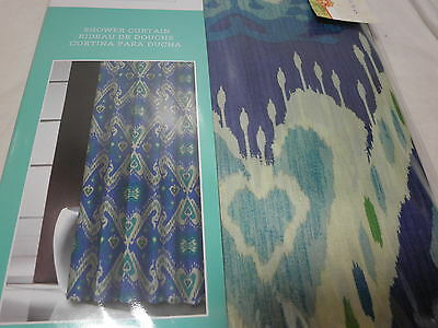 Traditions By Waverly Shower Curtain ENLIGHTENED Navy Teal Aqua Green NIP