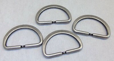 8 D-rings flat round antique silver 25mm (31x21mm) 30 stainless NEW
