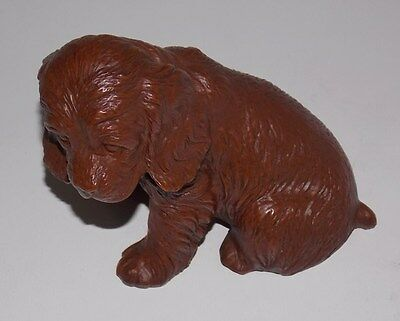 COCKER SPANIEL FIGURINE HAND MADE IN 1987 FROM CRUSHED PECANS BY RED MILL MFG.