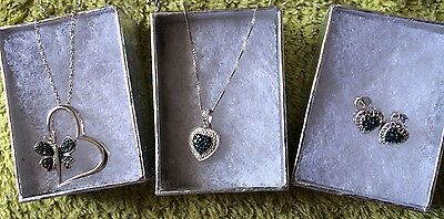Sterling Silver Genuine Blue or Black Diamond Accent Heart Earrings and Pendants