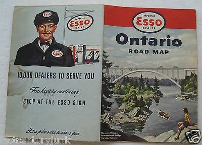 Esso  Humble  Road Map For Ontario, Canada 1952