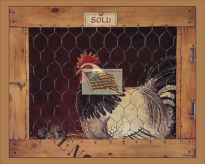 older print ROOSTER D in a wood cage england into a 10x8 picture country rustic