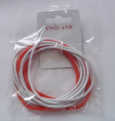 Pack Of 12 England Football Gummy Shag Bands 6 X Red 6 X White World Cup 2014