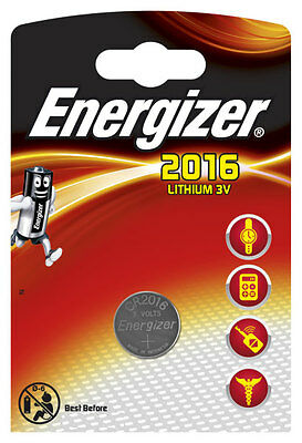 2 x Energizer Batterie CR2016 Lithium 3V Knopfbatterie CR 2016 Battery NEW