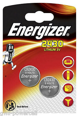 2 x Energizer CR2430 / CR 2430  DL2430 / DL 2430 3V Lithium Battery NEW