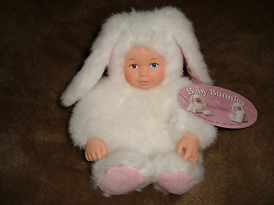 "Anne Geddes Baby Bunny white rabbit Doll 6.5"" open painted blue eyes"