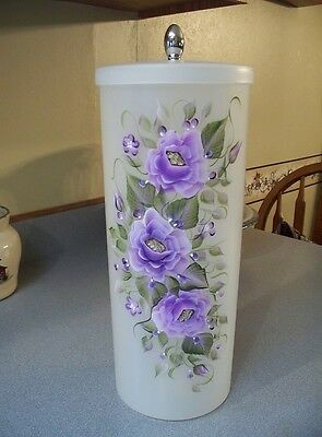 Hand Painted Roses Toilet Paper Canister/you Choose Flower Color