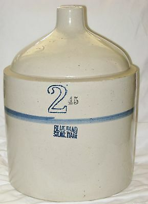 Blue Band Stoneware Jug #2 Pulled Handle Antique Blue Ring Pottery Jug