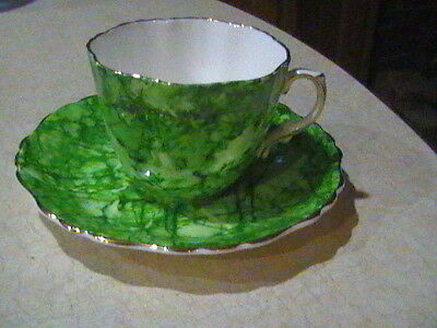 Hammersley & Co Bone China Green Art Pattern Cup & Saucer Gold Trim