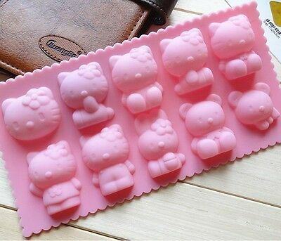 hot new Silicone 10 Shapes Hello Kitty Cake Mould Baking Cup Pan cake Mold