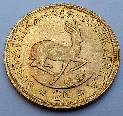 SOUTH AFRICA 2 GOLD RAND 1966  7.99 gr. 0.2355 oz. 0.917 gold  UNC