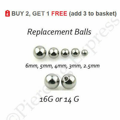 Replacement Spare Balls Labret Barbell Steel 16g or 14g, 2.5mm 3mm 4mm 5mm 6mm