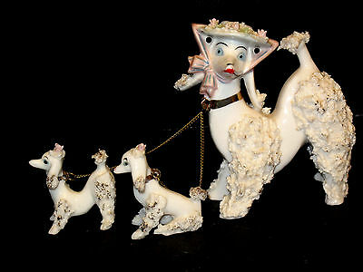 RARE Chained White Poodle Puppy Dog Spaghetti Porcelain Figurine Arnart Creation