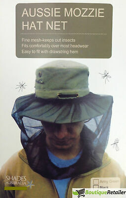 Mosquito Hat Net Head Protector Bee Bug Mesh Insect Mozzie Fishing Fly OLIVE New