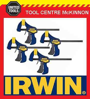 """4 x IRWIN QUICK-GRIP 6"""" / 150mm ONE HANDED BAR CLAMP"""