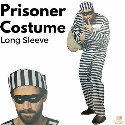 PRISONER COSTUME Halloween Jail Convict Adult Outfit Black White Jumpsuit Outlaw