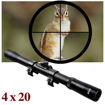 Sniper Air Rifle Airgun Gun Scope 4x20 Telescopic Sight Fitted 11mm Mounts Ring