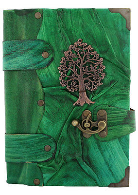 Tree of Life Pendant Green Leather Journal / Notebook / Diary / Sketchbook / Pad