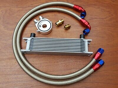 Renault 5 Gt Turbo New Alloy Oil Cooler Kit 10 Row Braided Stainless Steel Hoses