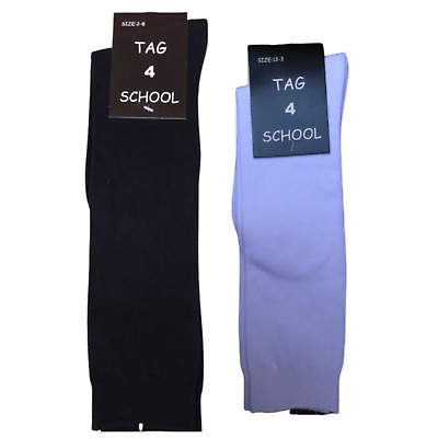 2x Pairs SCHOOL SOCKS Plain Ribbed Knee High Cotton Rich Girls Boys Unisex Kids