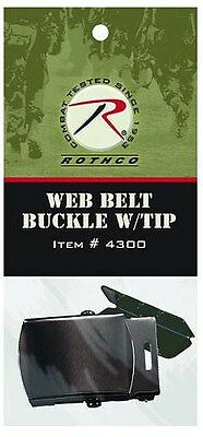"""Black Buckle and Tip for 1 1/4"""" Military Web Belts"""