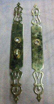 Pair Of  Heavy Sheet Die Cut Brass Entry Knob Plates Plate Escutcheons