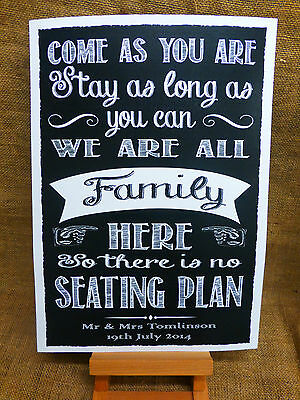NO SEATING PLAN SIGN A3 Vintage Chalkboard style PERSONALISED WEDDING