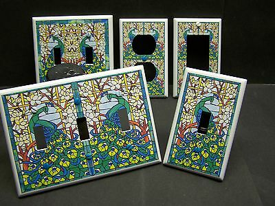 Beautiful Peacock Stained Glass Image Light Switch Or Outlet Cover V537