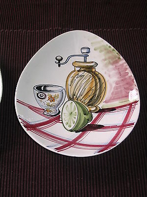 Vintage Italian Plate - 50s 60s Retro Hand Painted Pepper Grinder Italy Dish