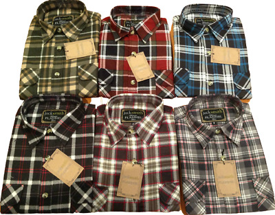 Men's FLANNELETTE SHIRT Check 100% COTTON Flannel Vintage Long Sleeve S-6XL New