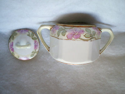 1911-1921 Nippon Sugar Bowl & Lid-Hand Painted-Gold Beaded Moriage-Pink Flowers