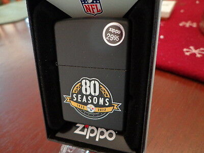 PITTSBURGH STEELERS 80TH ANNIVERSARY BLACK MATTE ZIPPO LIGHTER MINT IN BOX