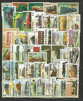 RAILWAYS TRAINS RAILROADS Collection Packet of 50 Different WORLD Stamps