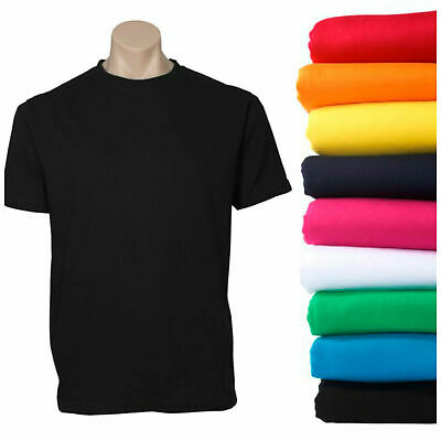 Plain T Shirt 100% COTTON Basic Blank Tee Men's Ladies Casual BULK XS-5XL Adults