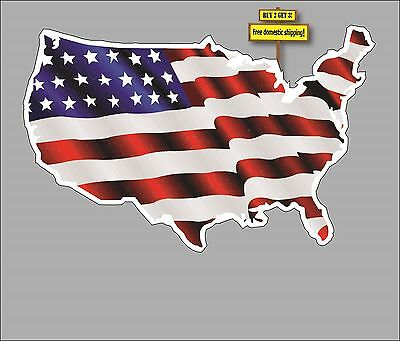 USA Shaped American  Flag US Map Patriotic American Decal Sticker  FLG9