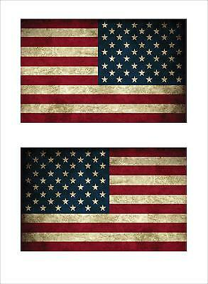 American USA Flag Large Left & Right Old Style Looking (2) Decal Stickers FLG13