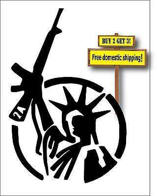 USA Statue Of Liberty With Gun Rights Black 2nd Amendment Decal Sticker GN65