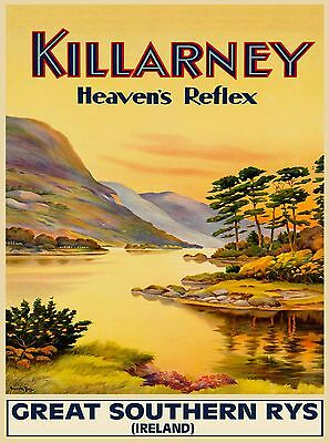 Killarney Heaven's Reflex Ireland Irish Travel Advertisement Poster Print
