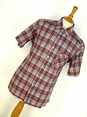 Mens Vintage Red & Blue Plaid Check Neat Mod Collar Short Sleeve Shirt L