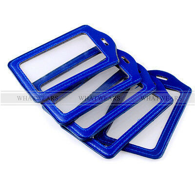 5x Blue Faux Leather Business ID Credit Card Badge Holder Clear Pouch Case LJN