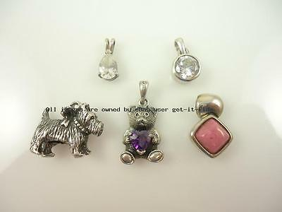 inv#15039 LADIES ESTATE JEWELRY 925 STERLING SILVER CHARM PENDANT LOT OF 5