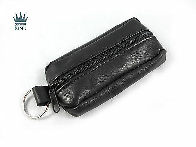 MENS LADIES REAL LEATHER COIN POUCH PURSE WALLET WITH KEY CHAIN KEY CASE HOLDER