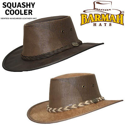 BARMAH Squashy Cooler Hat Kangaroo Leather OUTBACK Brim Foldable VENTED Mesh #02