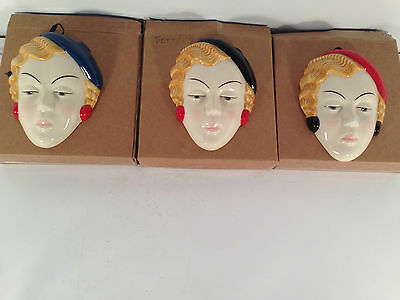 MOORLAND POTTERY Art Deco Blue Black or Red Face Mask Wall Plaque - Betty